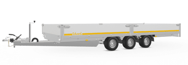 Mietanhänger Hochlader EDUARD, Autotransporter, 5 m x 2,20 m, 3500 kg, ohne Plane, Dreiachser 1