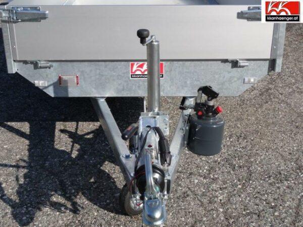 Rückwärtskipper Handpumpe Aluminium 2700 kg, 256 x 150 cm, Ladehöhe 72 cm, Handpumpe, gebremster Doppelachser 1
