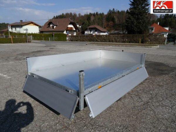 Rückwärtskipper Handpumpe Aluminium 2700 kg, 256 x 150 cm, Ladehöhe 72 cm, Handpumpe, gebremster Doppelachser 2