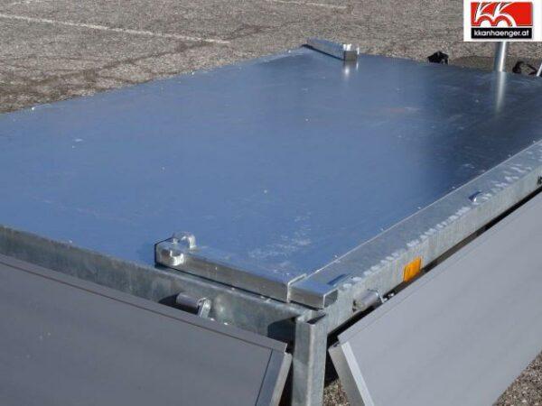 Rückwärtskipper Handpumpe Aluminium 2700 kg, 256 x 150 cm, Ladehöhe 72 cm, Handpumpe, gebremster Doppelachser 3