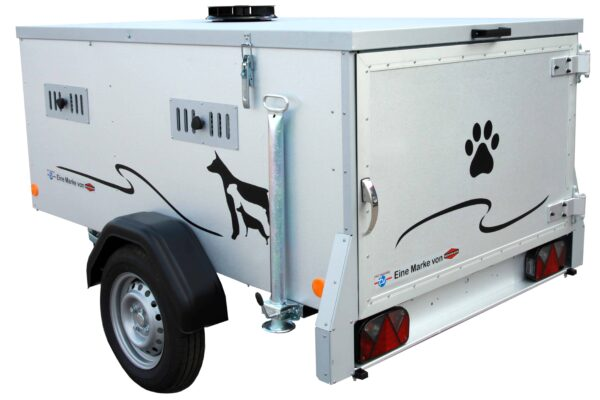TPV Hundeanhänger, geschlossener Kastenanhänger, Einachser, leichter Anhänger, Anhänger für Hundetransport, für 2 oder 3 Hunde, Check Trailers 2