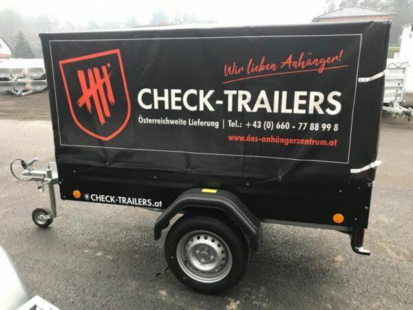 Eröffnungsaktion! Check Blacky Aktionsanhänger, Anhänger mit Planenaufbau, TPV Böckmann EU 2 in schwarz mit Hochplane, Check Trailer 3