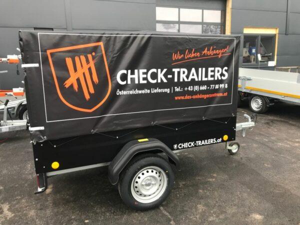 Eröffnungsaktion! Check Blacky Aktionsanhänger, Anhänger mit Planenaufbau, TPV Böckmann EU 2 in schwarz mit Hochplane, Check Trailer 7