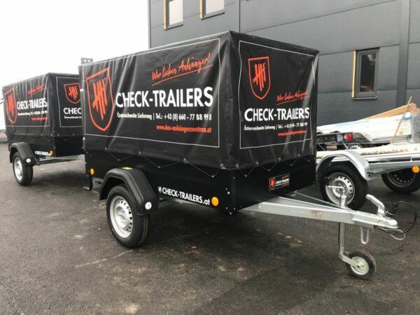 Eröffnungsaktion! Check Blacky Aktionsanhänger, Anhänger mit Planenaufbau, TPV Böckmann EU 2 in schwarz mit Hochplane, Check Trailer 8