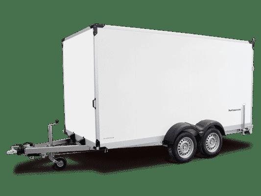 Humbaur Doppelachser, Kofferhänger Plywood GFK, mit Doppelflügeltüre hinten, Check Trailer 1