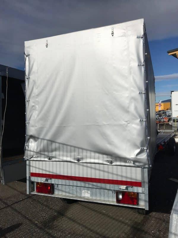 AKTIONSANHÄNGER Planenanhänger von Eduard, 256 x 150, 2000 kg, Hochlader mit grauer Hochplane, Standardplane 180 cm, Doppelachser, Tandem 4