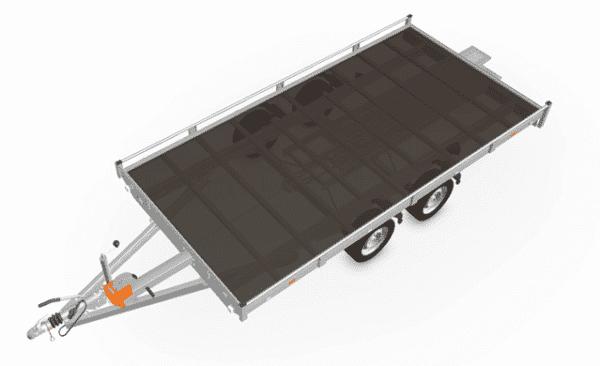 Eduard Fahrzeugtransporter, Hochlader mit Reling mit Seilwinde, 2000 kg, 406 x 200 cm, Transportanhänger, Doppelachser, gebremster Tandemachser, Allzweckanhänger 2
