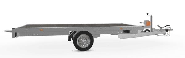 Eduard Fahrzeugtransporter, Plateauanhänger, Hochlader, flach mit Auffahrschienen und Seilwinde, 1500 kg, 330x180 cm, Transportanhänger, Einachser, gebremster Einachsanhänger, Allzweckanhänger 5
