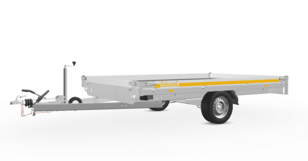 Motorradanhänger von Eduard, Transporter für bis zu 3 Motorräder, 311x200 cm, 10 cm Bordwände, 1800 kg Gesamtgewicht, gebremster Einachser, mit Auffahrrampen 1